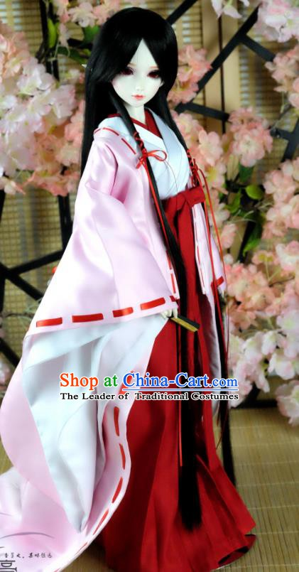 Traditional Asian Japan Costume Japanese Witch Iromuji Kimono Pink Vibration Sleeve Kimono Clothing for Women