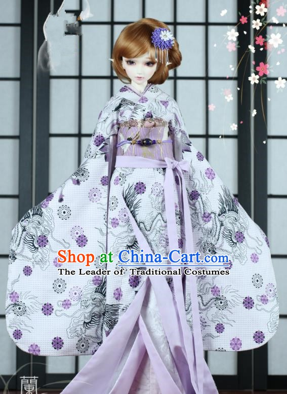 Traditional Asian Japan Costume Japanese Iromuji Kimono Printing Vibration Sleeve Kimono Clothing for Women