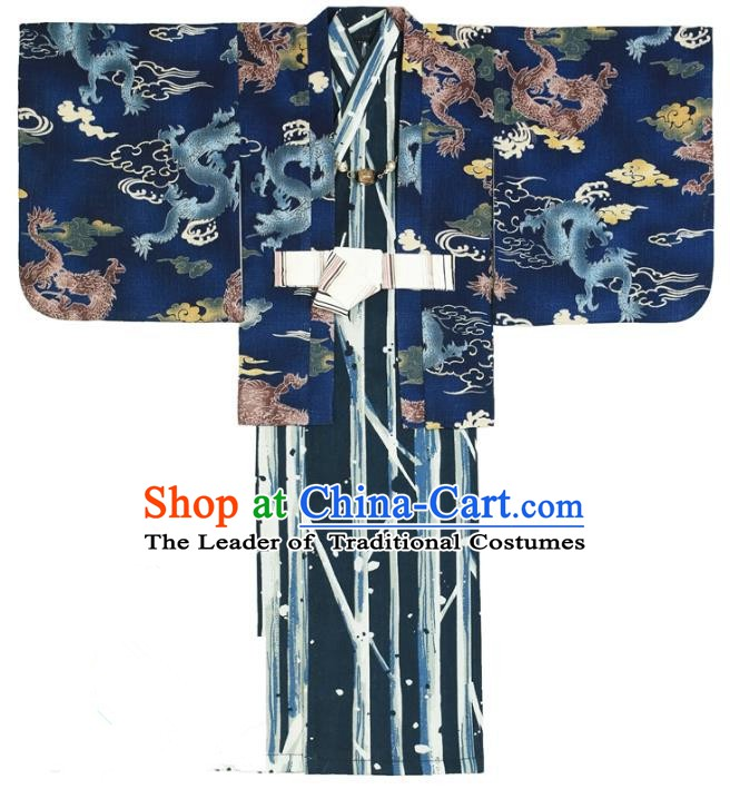 Traditional Asian Japan Costume Japanese Prince Kimono Blue Yukata Haori Hakama Clothing for Men