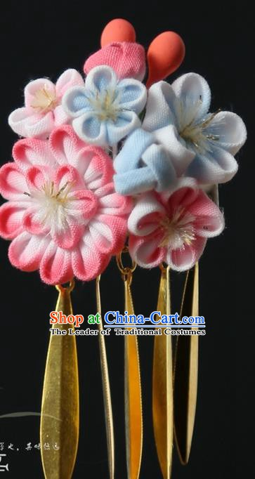 Traditional Asian Japan Courtesan Hair Accessories Flowers Hairpins Japanese Kimono Headwear for Women