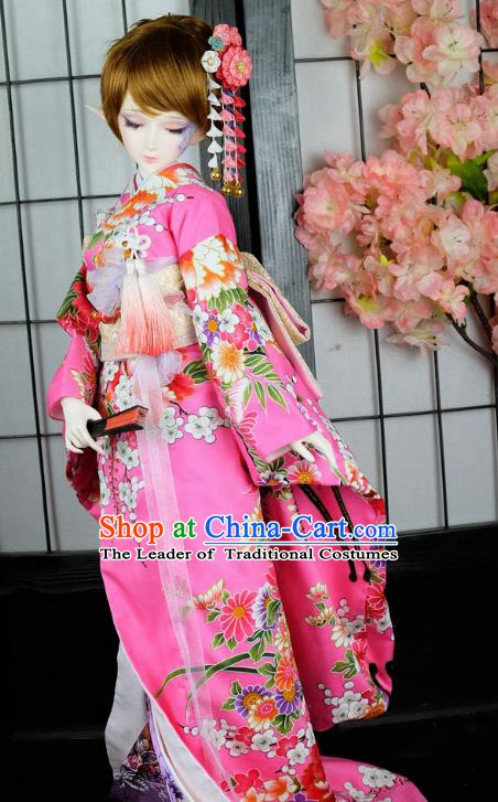 Traditional Asian Japan Costume Japanese Iromuji Kimonos Clothing Pink Sakura Kimono for Women