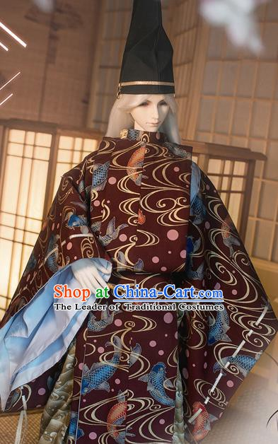 Traditional Asian Japan Costume Japanese Prince Kimono Yukata Haori Hakama Hunting Clothing for Men