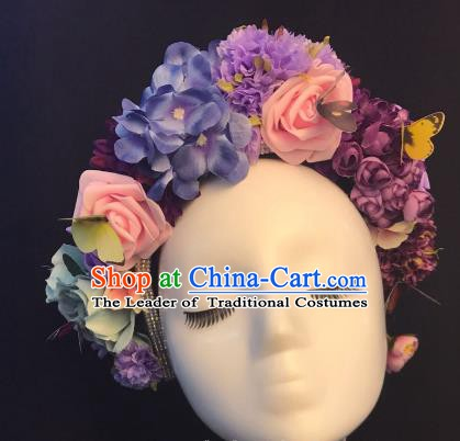 Top Grade Purple Flowers Hair Accessories Halloween Stage Performance Deluxe Hair Clasp Headwear for Women