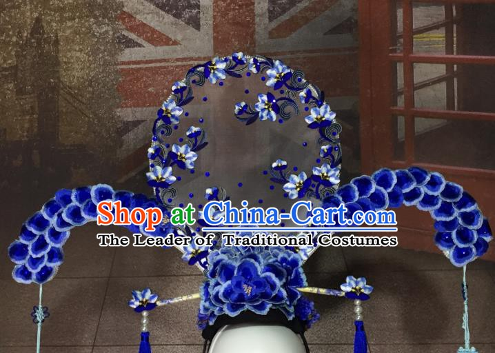 Top Grade Chinese Deluxe Hair Accessories Qing Dynasty Palace Headdress Halloween Stage Performance Headwear for Women