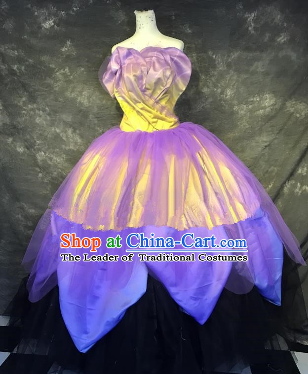 Top Grade Stage Performance Catwalks Costume Lilac Bubble Dress Full Dress for Women