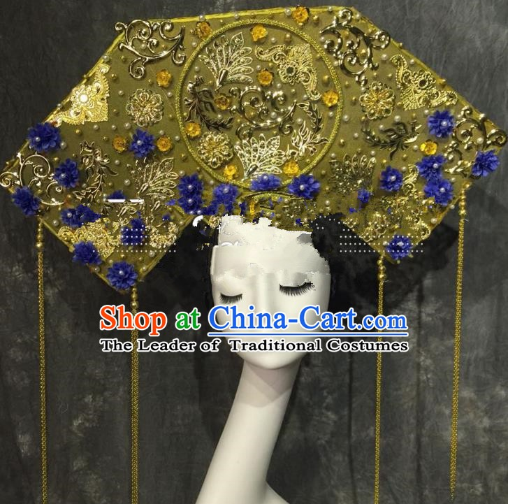 Top Grade Golden Deluxe Hair Accessories China Style Headdress Halloween Stage Performance Headwear for Women