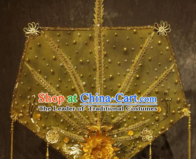 Top Grade Golden Deluxe Palace Hair Accessories China Style Headdress Halloween Stage Performance Headwear for Women