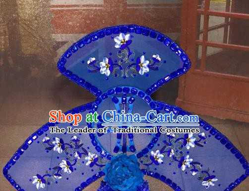 Top Grade China Hair Accessories Blue Phoenix Coronet Stage Performance Ancient Palace Headdress for Women