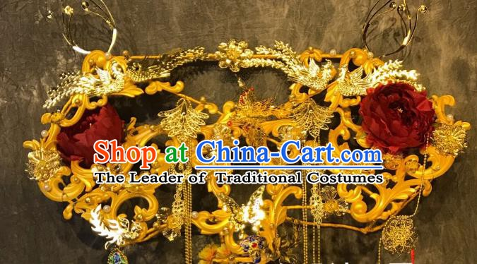 Top Grade China Ancient Palace Hair Accessories Deluxe Phoenix Coronet Halloween Stage Performance Headdress for Women