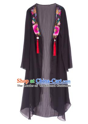 Traditional China National Costume Chinese Tang Suit Embroidered Black Cardigan for Women