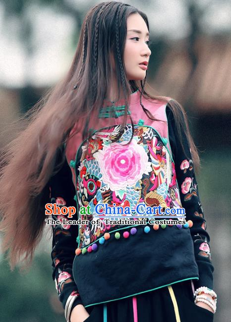 Traditional China National Costume Tang Suit Pink Vests Chinese Embroidered Waistcoat for Women