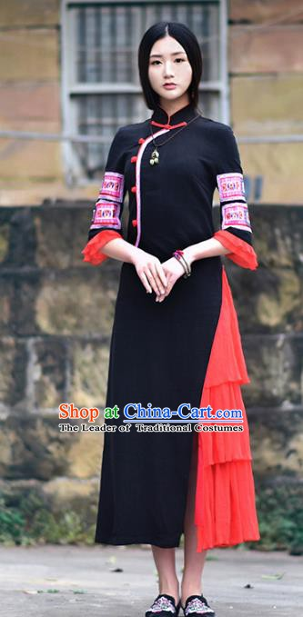 Traditional China National Costume Tang Suit Cheongsam Dress Chinese Embroidered Black Qipao for Women