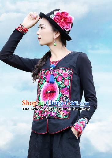 Traditional China National Costume Tang Suit Vests Chinese Embroidered Black Waistcoat for Women