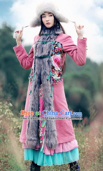 Traditional China National Costume Fur Collar Dust Coat Chinese Embroidered Coats for Women