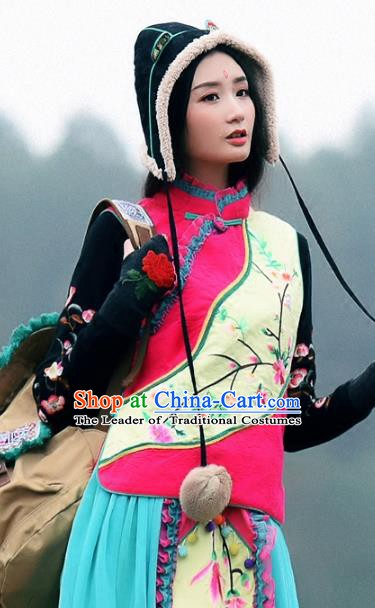 Traditional China National Costume Tang Suit Vests Chinese Embroidered Waistcoat for Women