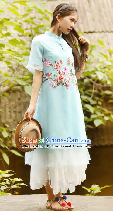 Traditional China National Costume Printing Peach Blossom Cheongsam Dress Chinese Tang Suit Qipao for Women