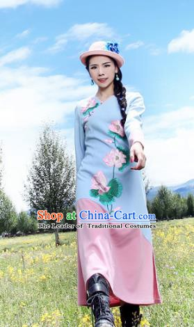 Traditional China National Costume Printing Lotus Cheongsam Dress Chinese Tang Suit Qipao for Women