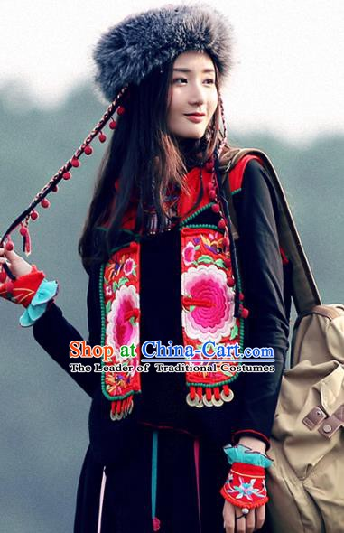 Traditional China National Costume Tang Suit Red Vests Chinese Embroidered Short Waistcoat for Women