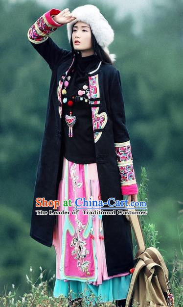 Traditional China National Costume Chinese Tang Suit Black Dust Coats for Women