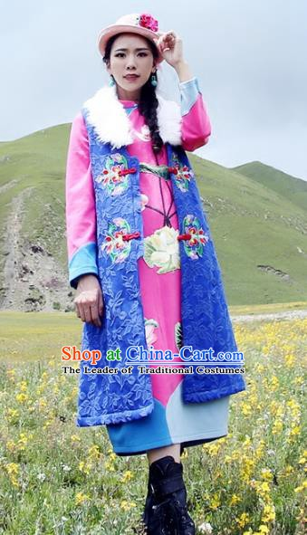 Traditional China National Costume Tang Suit Blue Long Vests Chinese Embroidered Waistcoat for Women