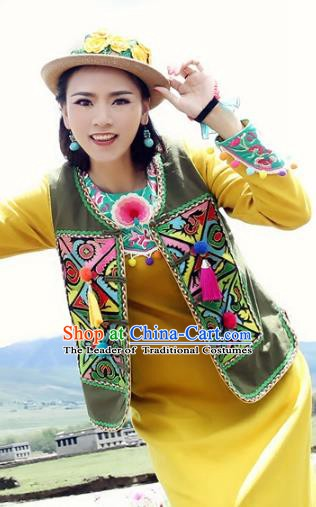 Traditional China National Costume Tang Suit Olive Green Vests Chinese Embroidered Waistcoat for Women