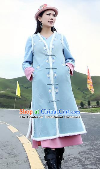 Traditional China National Costume Tang Suit Blue Vests Chinese Embroidered Long Waistcoat for Women