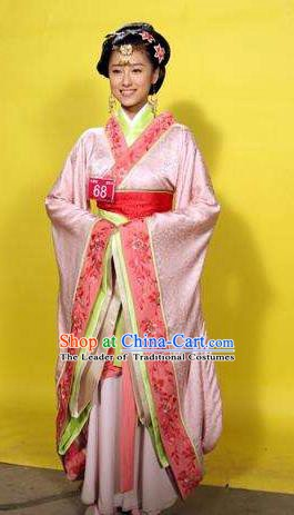 Traditional China Warring States Period Wu State Imperial Consort Xi Shi Embroidered Replica Costume for Women