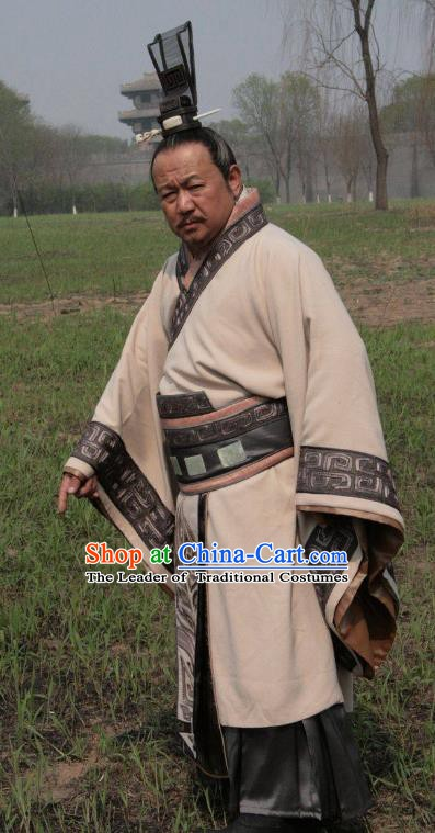 Traditional Chinese Spring and Autumn Period Qi State Minister Sun Ping Replica Costumes for Men