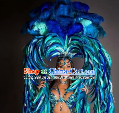 Top Grade Brazilian Carnival Costumes Halloween Feather Accessories Blue Feather Headdresses Miami Stage Performance Feathers Wings for Women