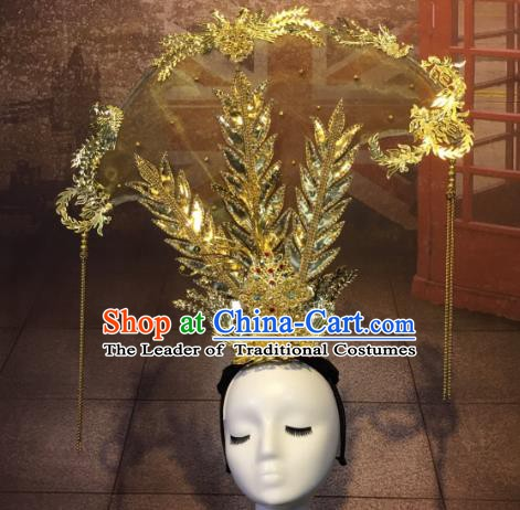 Top Grade China Style Palace Queen Hair Accessories Stage Performance Golden Headdresses for Women