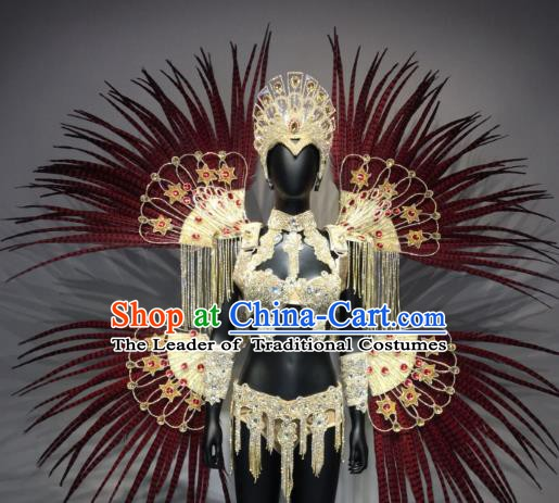 Top Grade Handmade Accessories Stage Performance Brazilian Carnival Costumes Feather Headdress and Wings for Women