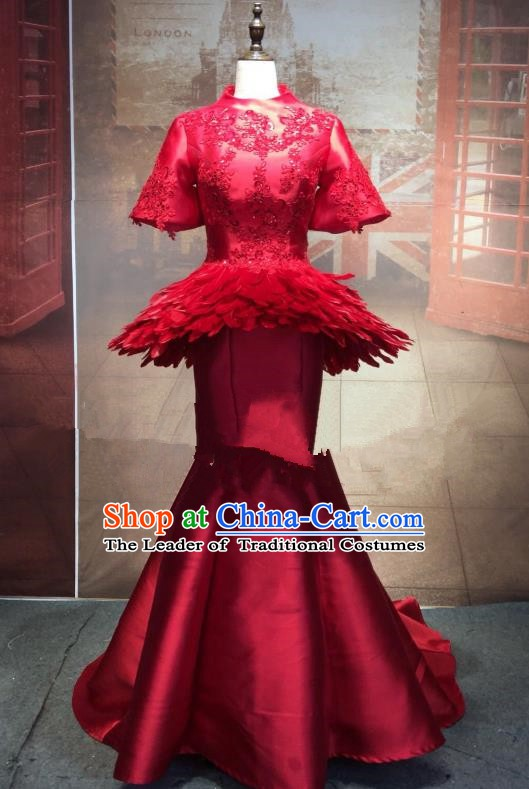 Top Grade Stage Performance Costume Red Cheongsam Dress Catwalks Full Dress for Women