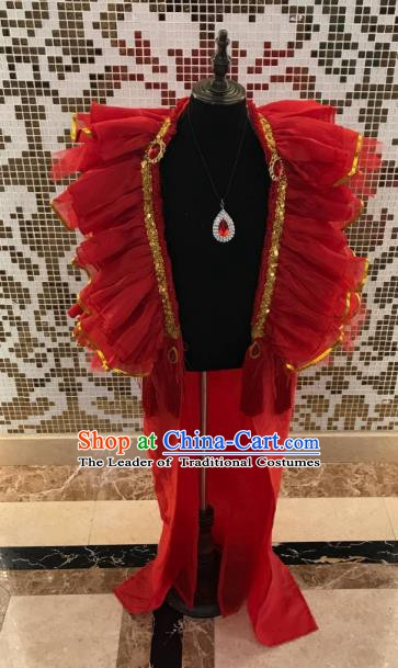 Top Grade Children Stage Performance Costume Catwalks Red Clothing for Kids