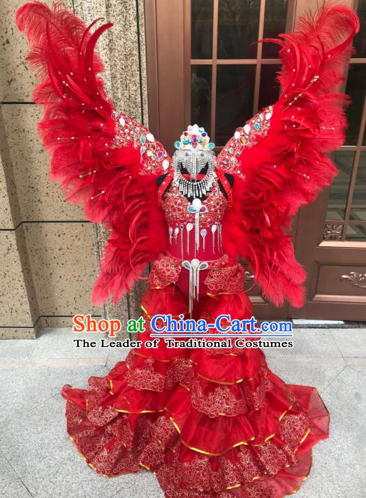 Top Grade Children Stage Performance Costume Catwalks Red Feather Wings Bikini Dress and Headwear for Kids