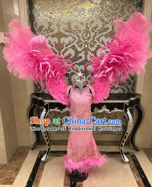 Top Grade Children Stage Performance Costume Catwalks Pink Dress and Feather Wings for Kids