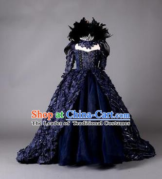 Top Grade Children Stage Performance Costume Girls Blue Dress Catwalks Queen Clothing for Kids