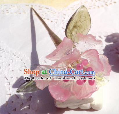 Traditional Chinese Ancient Hair Accessories Hair Stick Pink Flowers Hairpins Hair Jewellery Headwear for Women