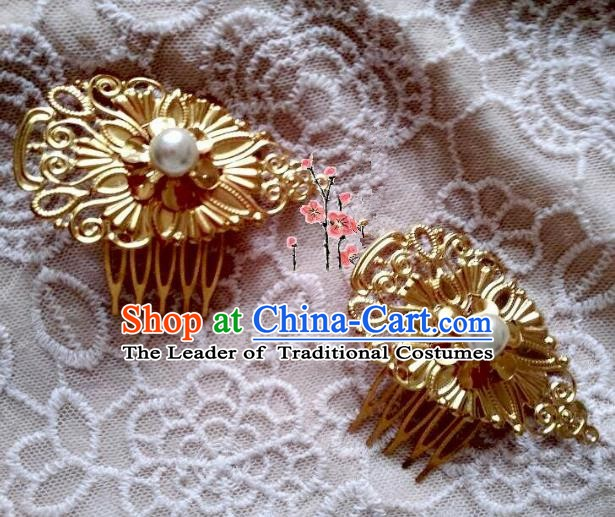Traditional Chinese Ancient Hair Accessories Golden Hairpins Hair Comb for Women