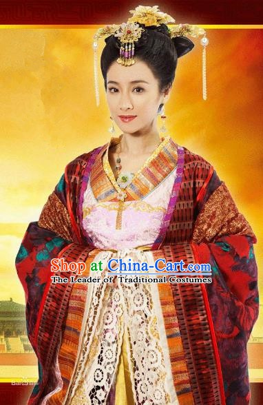 Ancient Chinese Tang Dynasty Palace Princess Tai Ping Hanfu Dress Replica Costume for Women