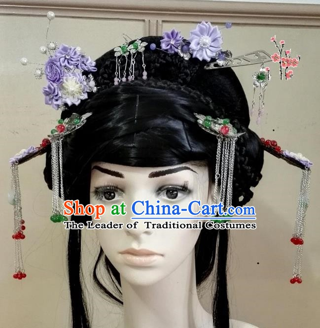 Traditional Chinese Ancient Hair Accessories Tassel Hairpins Purple Flowers Step Shake Complete Set for Women