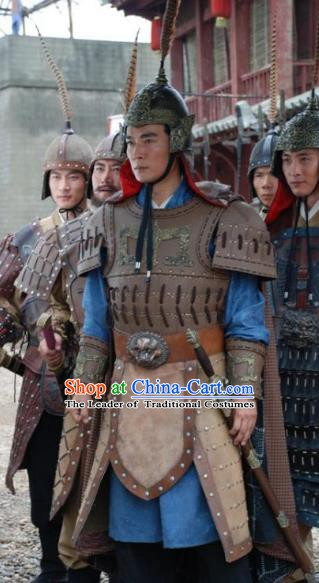 Ancient Chinese Han Dynasty General Han Xin Replica Costume Helmet and Armour for Men