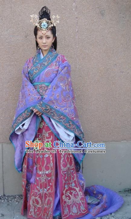 Traditional Chinese Ancient Han Dynasty Court Maid Wang Zhaojun Hanfu Dress Replica Costume for Women