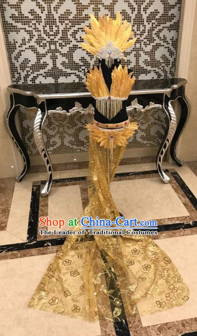 Top Grade Children Stage Performance Costume Catwalks Modern Dance Golden Feather Bikini and Headwear for Kids