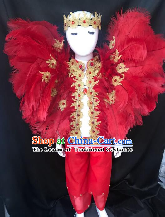 Top Grade Children Stage Performance Costume Catwalks Modern Dance Red Feather Clothing and Headwear for Kids