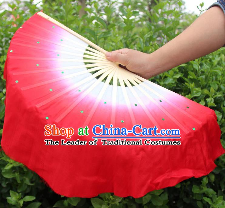 Top Grade Chinese Folk Dance Folding Fans Dance Fans Yangko Red Silk Fans for Women