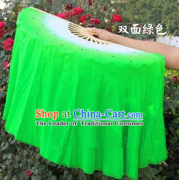 Top Grade Chinese Folk Dance Folding Fans Yangko Dance Green Silk Ribbon Fan for Women