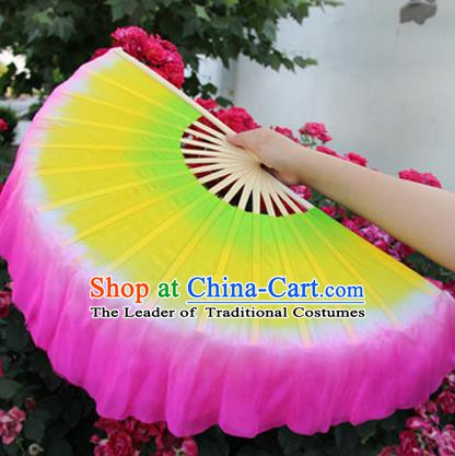 Chinese Handmade Folk Dance Silk Folding Fans Yangko Dance Classical Dance Fans for Women