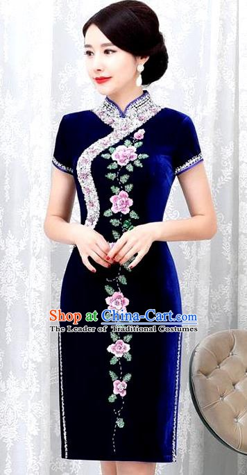 Chinese Traditional Elegant Cheongsam Embroidery Royalblue Velvet Qipao Dress National Costume for Women