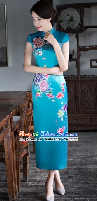 Chinese Traditional Elegant Printing Silk Blue Cheongsam National Costume Qipao Dress for Women