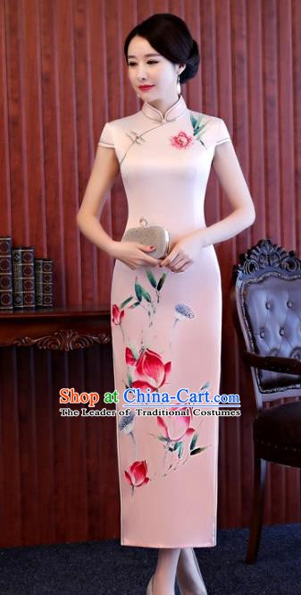 Chinese Traditional Printing Lotus Elegant Pink Cheongsam National Costume Silk Qipao Dress for Women